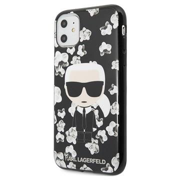Karl Lagerfeld Flower iPhone 11 TPU Hülle - Schwarz / Blumen
