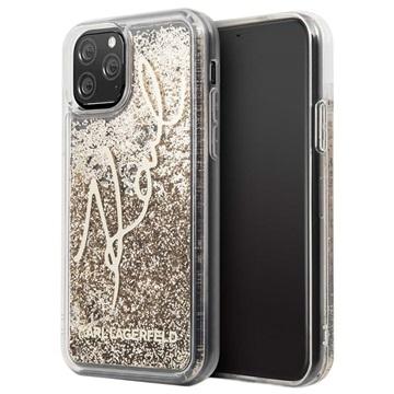 Karl Lagerfeld Signature Liquid Glitter iPhone 11 Pro Hülle - Gold
