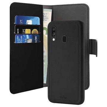 Puro 2-in-1 Magnetisches Samsung Galaxy A40 Wallet Hülle - Schwarz