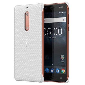Nokia 5 Carbon Fibre Design Cover CC-803 - Perle Weiss