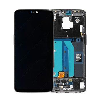 OnePlus 6 Oberschale & LCD Display - Mitternachtsschwarz