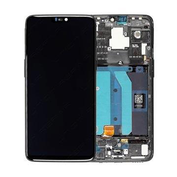 OnePlus 6 Oberschale & LCD Display - Spiegel Schwarz