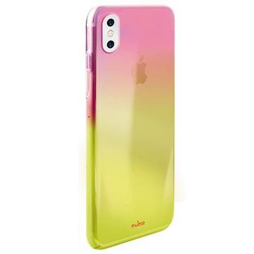 iPhone X Puro Hologram Handy Hülle - Rosa / Gelb