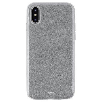 Puro Shine Glitter iPhone XS Max TPU Hülle - Silber