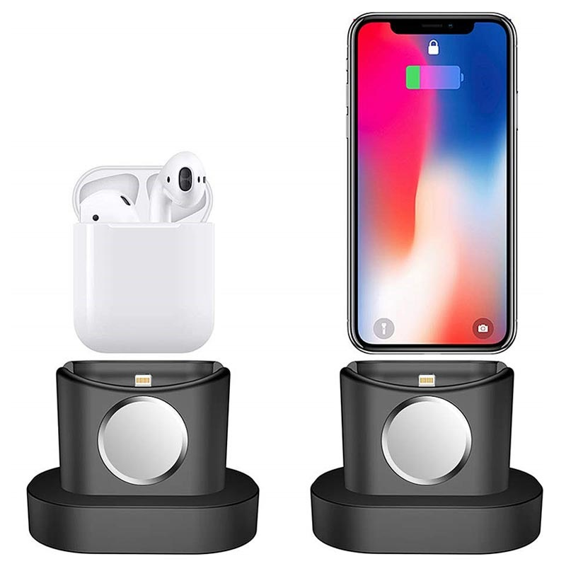 3-in-1 Silikon Dockingstation - iPhone, Apple Watch, AirPods - Schwarz