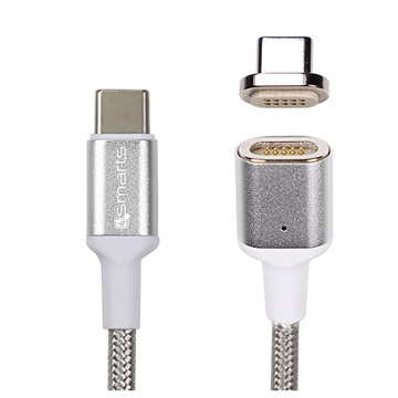 4smarts GravityCord Ultimate Magnetisches USB-C to USB-C Kabel - 1.8m - Silber