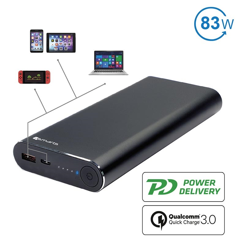 4smarts VoltHub 20000mAh Powerbank - QC3.0, Power Delivery - Schwarz