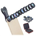 Apexel 10-in-1 Universal Clip-On Kameraobjektiv Set - Schwarz