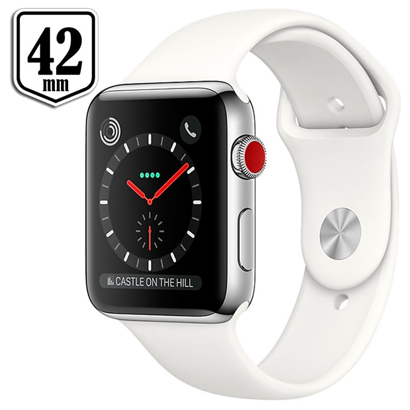 apple watch series 3 lte mqly2zd a edelstahlgeh use sportarmband 42mm 16gb silber wei. Black Bedroom Furniture Sets. Home Design Ideas