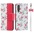 Floral Pattern Huawei P30 Wallet Hülle - Hot Pink