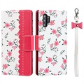 Floral Pattern Samsung Galaxy Note10+ Wallet Hülle - Hot Pink