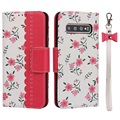 Floral Pattern Samsung Galaxy S10+ Wallet Hülle - Hot Pink