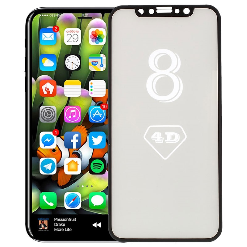 iPhone X Full Size 4D Panzerglas mit Rahmen - Schwarz
