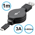 Goobay Retractable USB 2.0 / USB 3.1 Typ-C Kabel - Schwarz