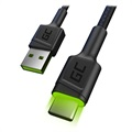 Green Cell Ray Schnell USB-C Kabel mit LED Licht - 1.2m