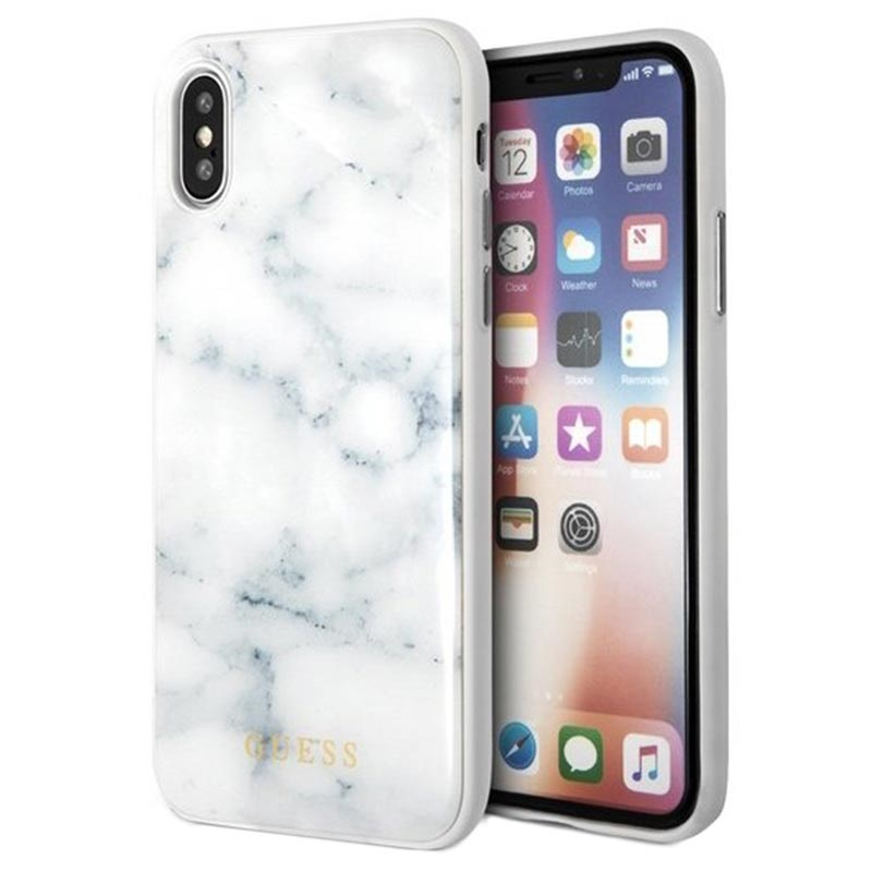 guess marble collection iphone x iphone xs hybrid h lle. Black Bedroom Furniture Sets. Home Design Ideas