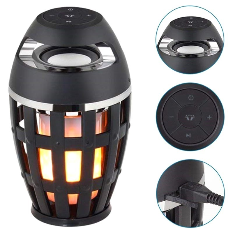 LED Flame Atmosphere Bluetooth Lautsprecher S1 - Schwarz