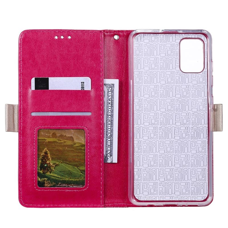 Lace Pattern Samsung Galaxy A51 Wallet Hülle - Hot Pink
