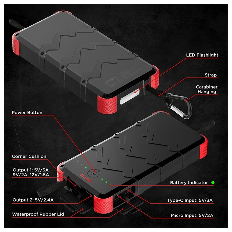 Outxe Savage 20000mAh Quick Charge Rugged Powerbank - Schwarz / Rot