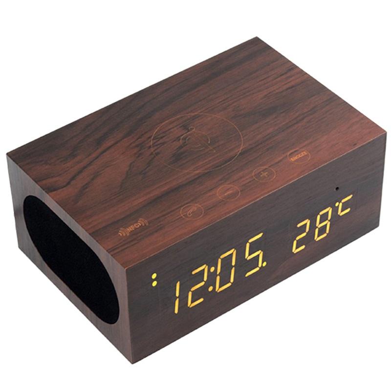 qxtc x5 wooden qi ladeger t lautsprecher wecker kaffee. Black Bedroom Furniture Sets. Home Design Ideas