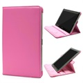 Rotary Leder Tasche - Samsung Galaxy Tab 2 10.1 P5100, P7500 - Hot Pink