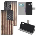 Style Series Samsung Galaxy A20e Wallet Hülle - Vintage Amerikanische Flagge