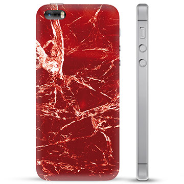 iPhone 5/5S/SE TPU Hülle - Roter Marmor