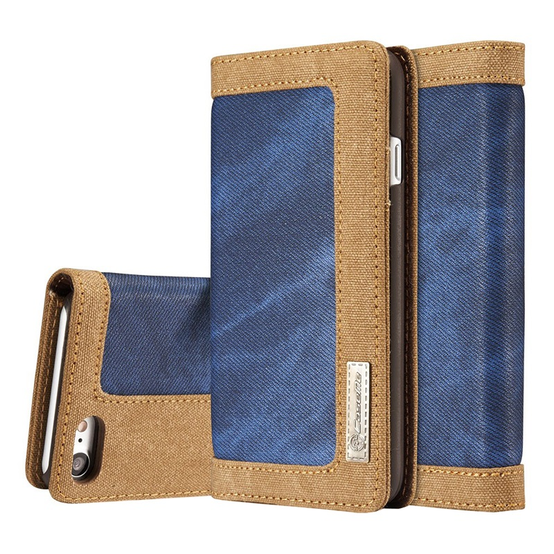 iphone 7 iphone 8 caseme canvas schutzh lle mit geldb rse blau. Black Bedroom Furniture Sets. Home Design Ideas