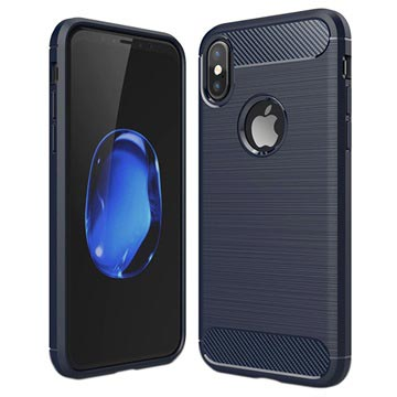iPhone X / iPhone XS Angeraute TPU Hülle - Karbonfaser