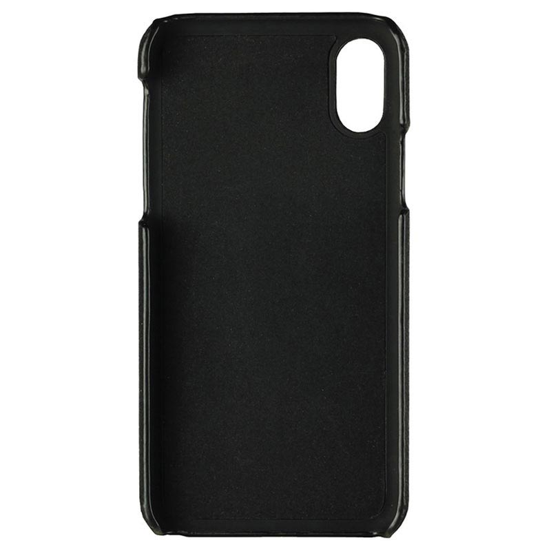 iPhone X / iPhone XS Essentials Triple Card Leder Cover - Schwarz