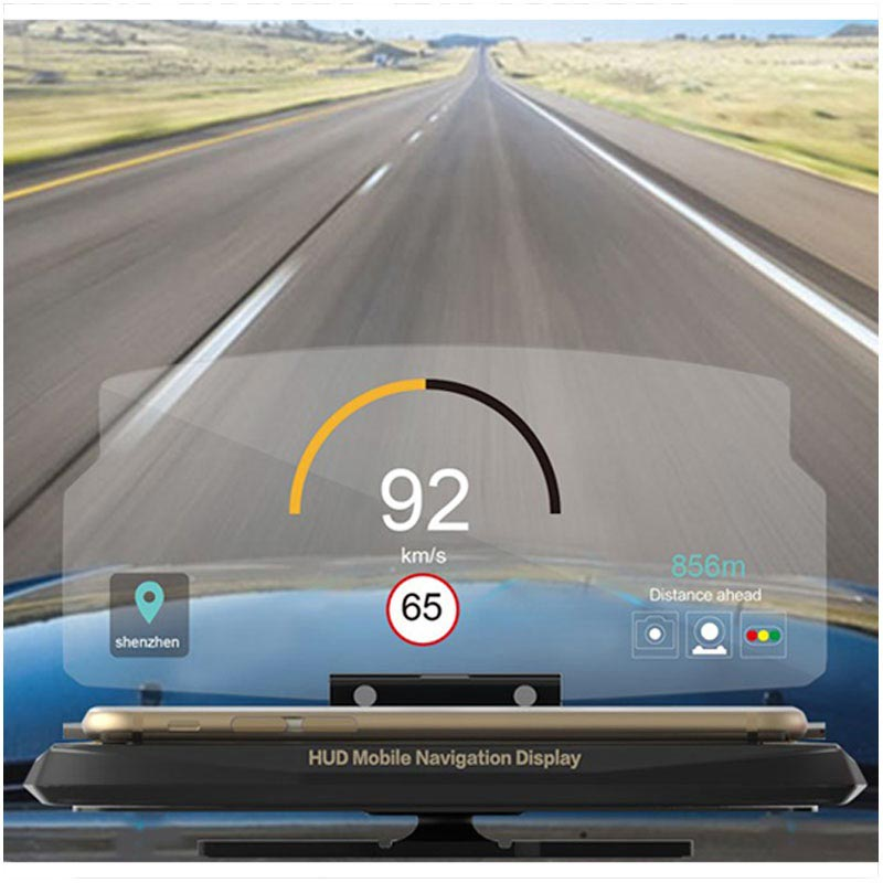 "HUD Head Up Display Navigation Ständer für Smartphones - 6.5"" - Schwarz"