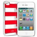 iPhone 4 / 4S Puro Stripe Cover - Silber / Rot